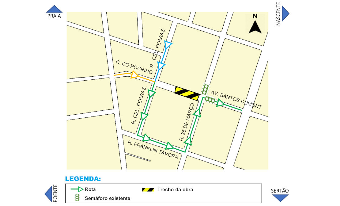 Trecho da Av. Santos Dumont será interditado neste sábado para avanço das obras da Linha Leste